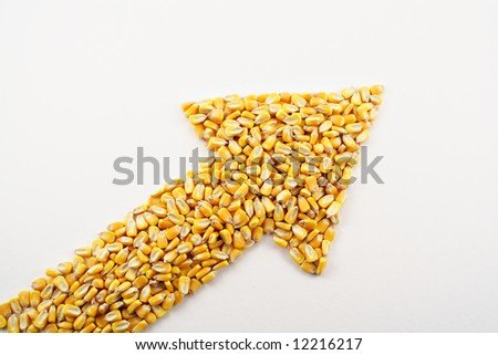 A pile of corn kernels arranged into an up arrow to reflect the high price of corn