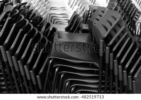 A pile of folding chairs
