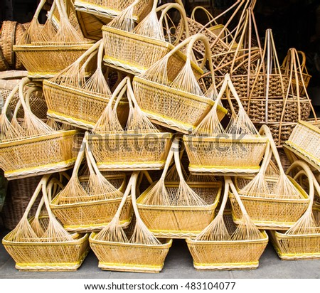A pile of hand made wicker baskets