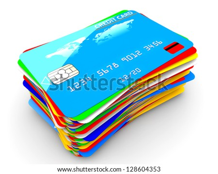 A pile of many colorful credit cards isolated on a white background