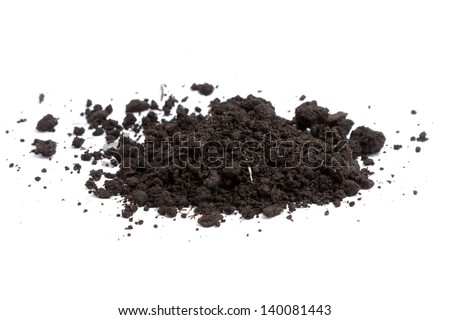 a pile of soil on white