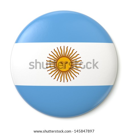 A pin button with the Argentine flag. Isolated on white background with clipping path.