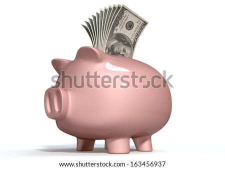 A pink ceramic piggy bank on an isolated white background with a wad of us dollar notes stuffed into its slot