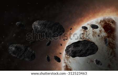 A planet surrounded by flying debris
