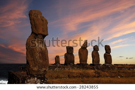 A platform with statues on Easter Island