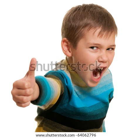 A portrait of a yelling boy holding his thumb up; isolated on the white background