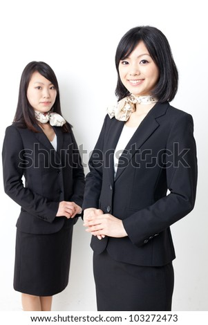 a portrait of asian businesswomen on white background