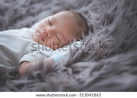 Newborn Baby Boy Sleeping Stock Photo 192187457