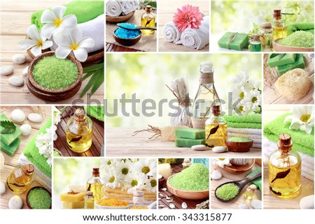 A portrait of Green spa concept collage. soap and essentials spa objects