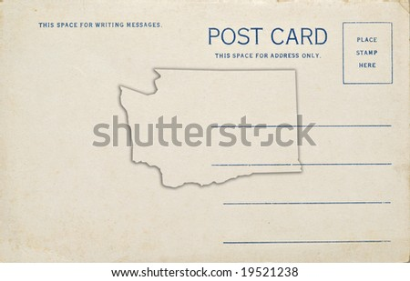 A postcard with a Washington map outline. Dirt and scratches at 100%.