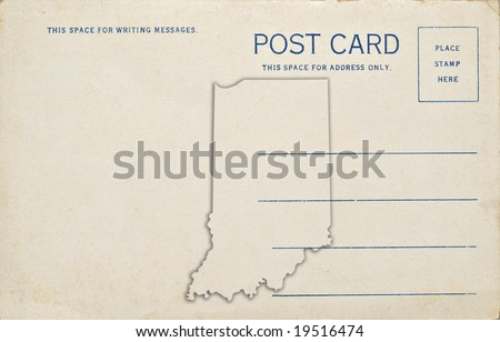 A postcard with an Indiana map outline. Dirt and scratches at 100%.