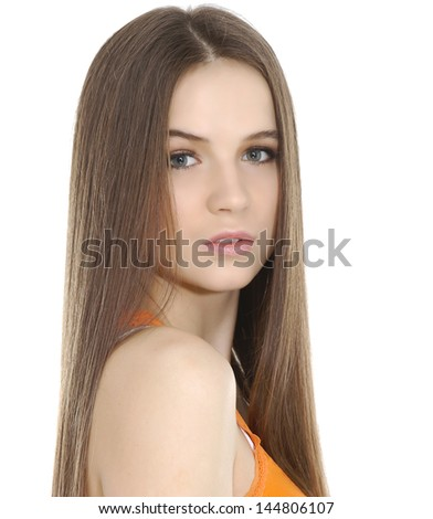 A pretty girl with long hair
