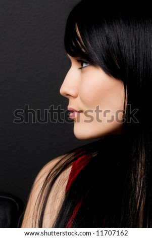 A profile shot of a beautiful woman