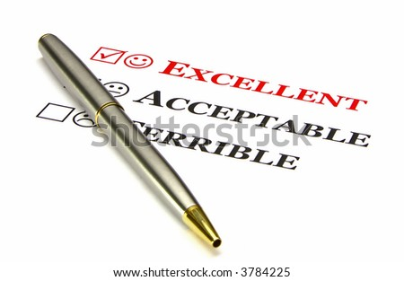 "A questionnaire with the top choice, ""excellent"", filled in by default. Gold and silver pen in the foreground."