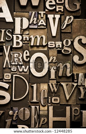 A random arrangement of letterpress letters,  Part of a series of letterpress backgrounds