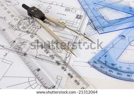 Random Set Drawing Instruments Arranged On Stock Photo