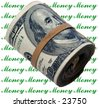A rather thick bank roll of 100.00 dollar bills rolled up and held in place by a rubber band photoshopped onto a Money Money Money back ground - stock photo