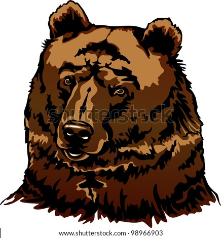 grizzly bearrearing angry posefront view illustration