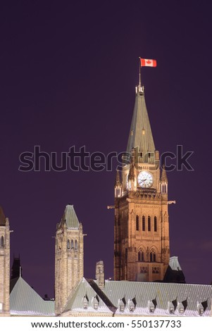 A recent session of the Parliament building located on the Parliament Hill in Ottawa, Ontario, Canada