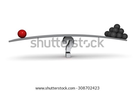 A red sphere and a stack of dark gray spheres sit on opposite ends of a gray board balanced on a gray question mark. Isolated on white.