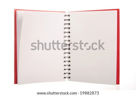 A red spiral notebook isolated on white, blank pages to put your own text or messages on