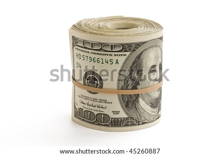 A roll of hundred dollar bills standing on white background