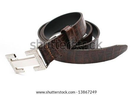 A rolled up lady belt isolated on white background.