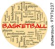 A round ball shaped word cloud concept around the word basketball with great terms such as teams, players, and free, throw. - stock vector