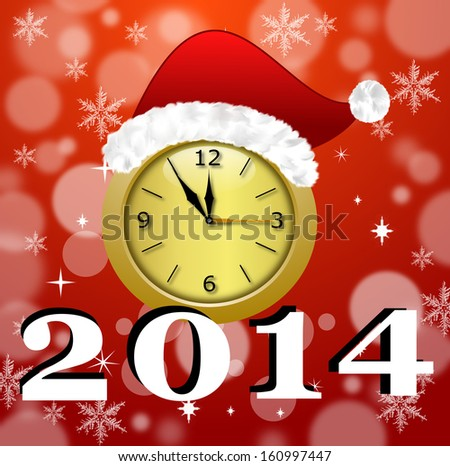 a round beautiful clock with a new-year cap and symbols of coming year, are illustration