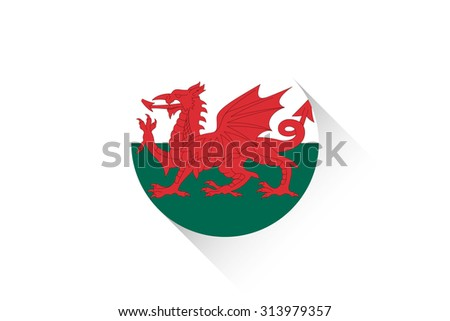 A Round flag with shadow of Wales