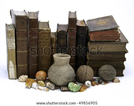 A row of antique 18th century books with artifacts and shells