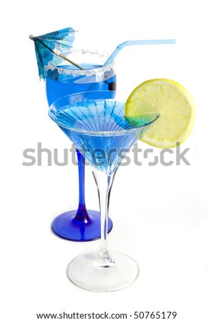 a row of blue tropical cocktails isolated on a white background