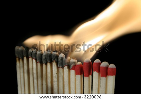 a row of igniting matches