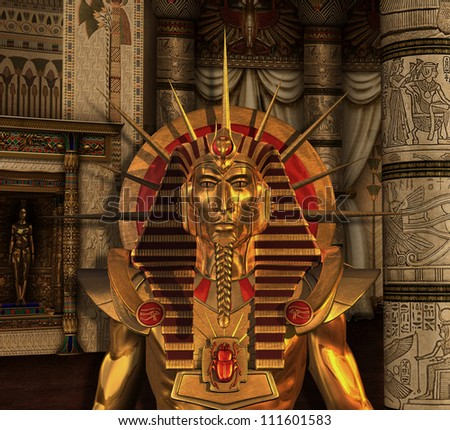 from ancient Egypt with a Pharaoh statue in a burial chamber - 3D ...