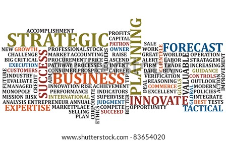 A scramble of business buuz words for background
