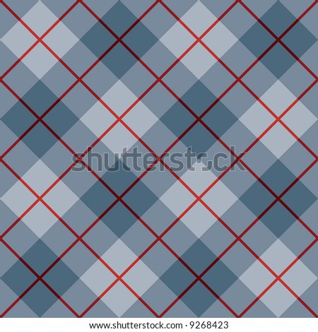 "A seamless 12"" square plaid pattern in blues with a red stripe."