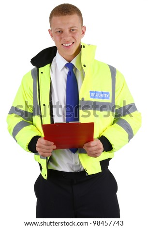 A security guard with a clipboard, isolated on white