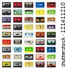 a selection of old audio cassettes - stock photo