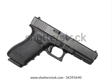 A semi automatic  handgun isolated on white with room for your text