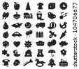 a set of black silhouettes of pictures for children - toys and different symbols - stock vector