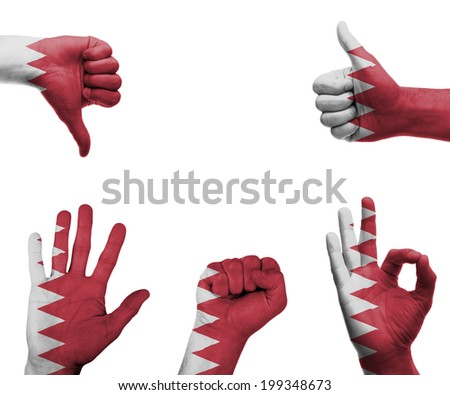 A set of hands with different gestures wrapped in the flag of Bahrain