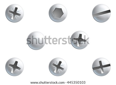 A set of screw,nuts,  bolt and rivet head design elements