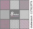 A set of 8 seamless geometric patterns. - stock photo