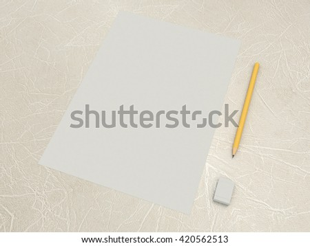 A sheet of paper, pencil and eraser. A simple set of drawing and sketching with blank paper on leather table texture background. High resolution 3d illustration