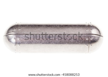a shiny metal sci-fi container isolated over a white background