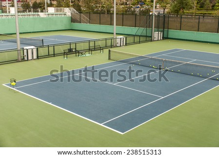a shot of tennis courts with nobody