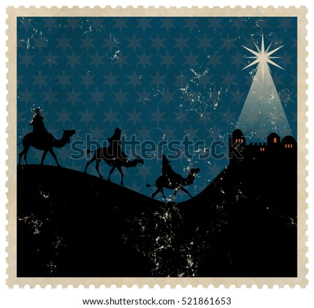 A silhouette Christmas stamp design with the kings riding on camels approaching the town of Bethlehem at night.