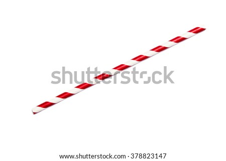 A single red drinking straw in retro style with red and white stripes on white background