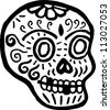 A skull with teeth missing represented in black and white - stock vector