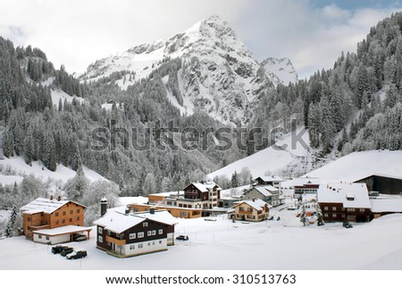 A small alpine village in the Schrocken region of Vorarlberg, Austria